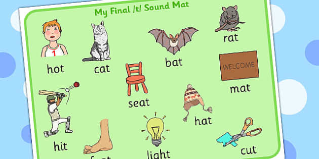 Final T Sound Mat - final, t, sound, mat, sound mat, sounds