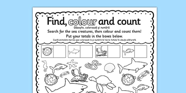 Under the Sea Find Colour and Count Activity Sheet Romanian Translation - Romanian, bilingual, sea, fish, colour, count, numbers, worksheet