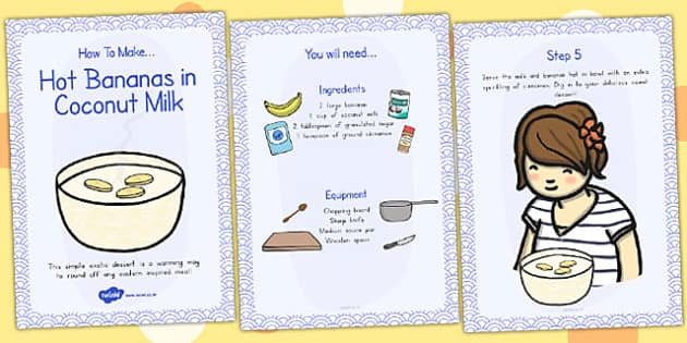 Hot Bananas in Coconut Milk Recipe Cards - australia, recipe card