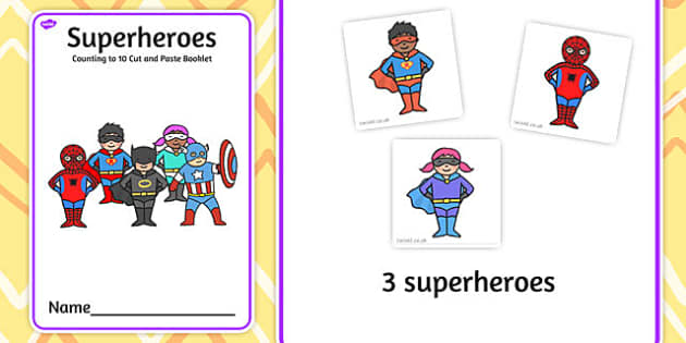 Superheroes Counting to 10 Cut and Paste booklet - cutting, count