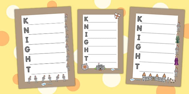 Knight Acrostic Poem - knights, castles and knights, poetry, poem