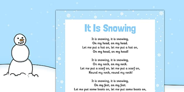 It Is Snowing Action Rhyme Poster - EYFS, Early Years, winter, song, seasons, weather