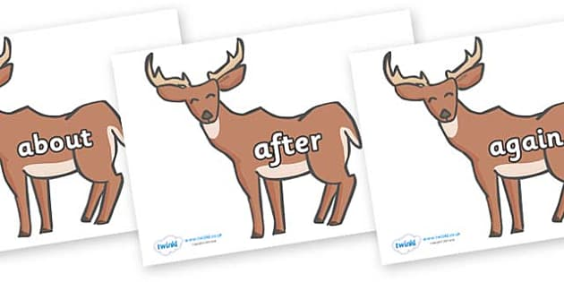 KS1 Keywords on Deer - KS1, CLL, Communication language and literacy, Display, Key words, high frequency words, foundation stage literacy, DfES Letters and Sounds, Letters and Sounds, spelling