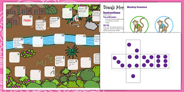 Diwali Monkey Helper Board Game - diwali, monkey, board game