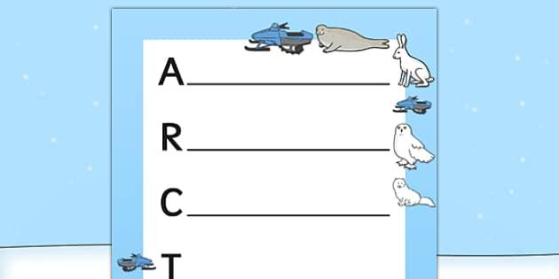 Arctic Acrostic Poem Template - arctic, acrostic, poem, template