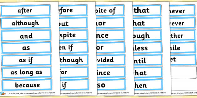 Conjunctions on strips word cards - Writing - Connectives, Word
