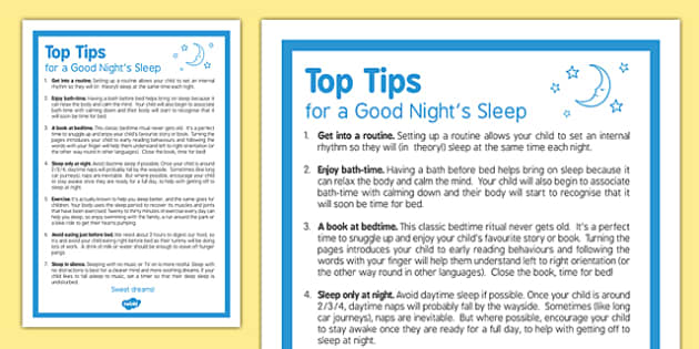 Top Tips for a Good Night's Sleep Children - top tips, good night sleep, good, sleep, children
