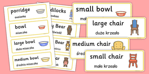 Goldilocks and the Three Bears Word Cards Polish Translation - polish, goldilocks, three bears, word cards