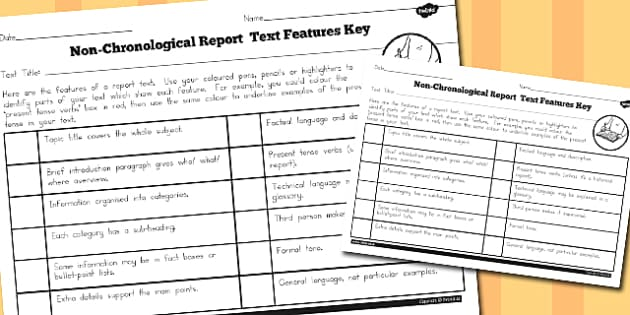 Features of a Non-Chronological Report Text Checklist - australia
