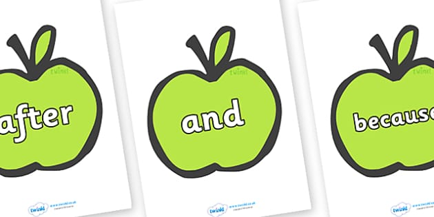 Connectives on Apples - Connectives, VCOP, connective resources, connectives display words, connective displays