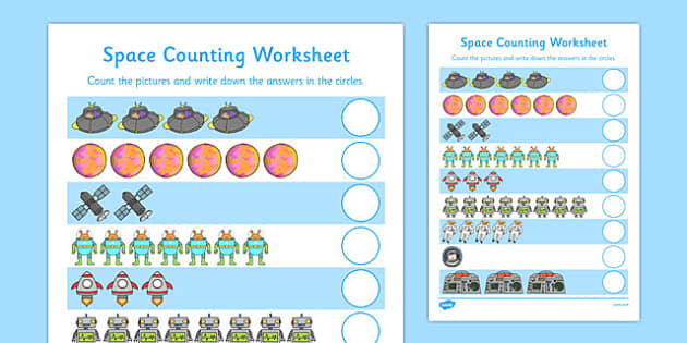 My Counting Worksheet (Space) - education, home school, free, fun