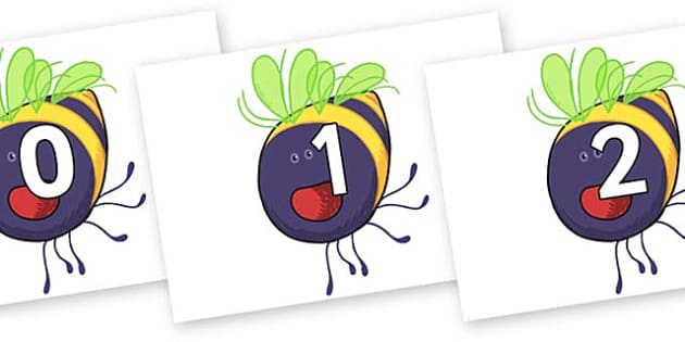 Numbers 0-100 on Bumblebee to Support Teaching on The Crunching Munching Caterpillar - 0-100, foundation stage numeracy, Number recognition, Number flashcards, counting, number frieze, Display numbers, number posters