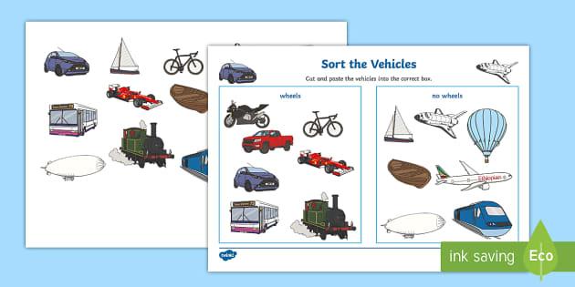 Transport Wheels or No Wheels Sorting Activity - sorting activity
