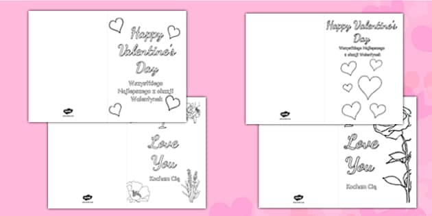 Valentine's Day Card Colouring Templates Polish Translation - polish, Valentine's Day, Valentine, love, Saint Valentine, heart, kiss, colouring, fine motor skills, poster, worksheet, vines, A4, display,  cupid, gift, roses, card, flowers, date, lette