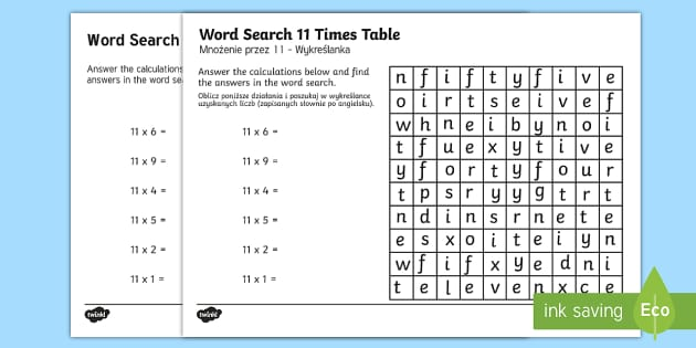 Multiplication 11 Times Tables Word Search Activity Sheet