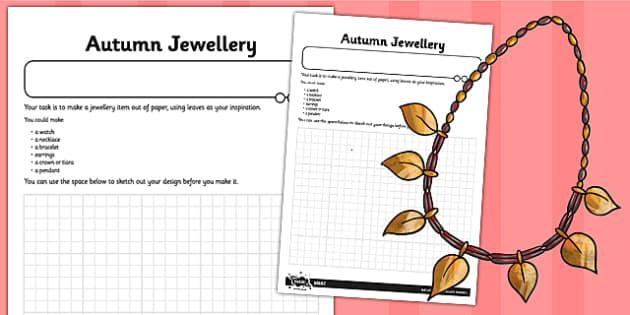 Autumn Jewellery Worksheet - autumn, jewellery, worksheet, sheet