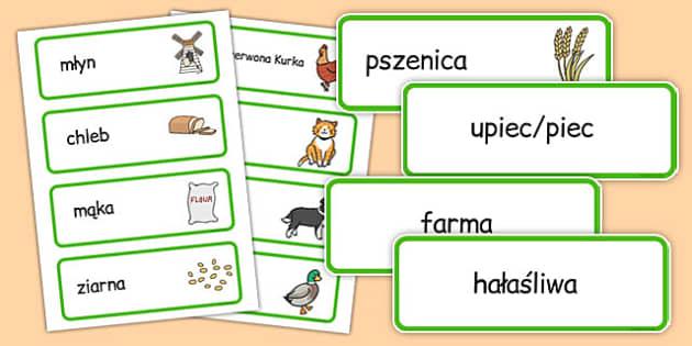 Karty ze słownictwem Mała Czerwona Kurka po polsku - bajki