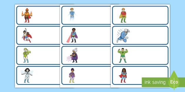Etiquetas de perchero: Los superhéroes - Los superhéroes, proyecto, transcurricular, poderes, identificación, percha, cajón, nombre,Spanis