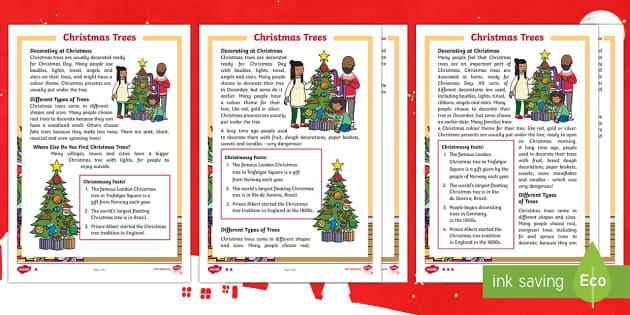 KS1 Christmas Trees Differentiated Reading Comprehension Activity - Christmas, Nativity, xmas, Xmas, Father Christmas, Santa, Christmas trees, traditions, decorations,