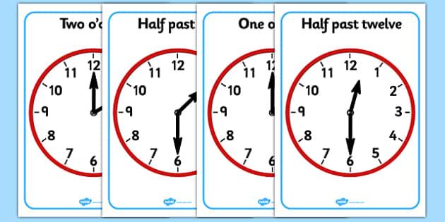 O Clock and Half Past on Clocks - o clock, half past, clock, time, Clock, time, anologue, o'clock, half past
