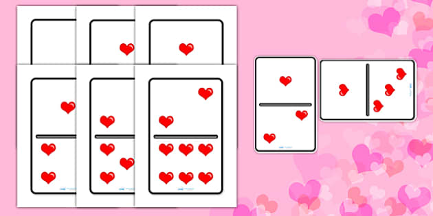 Valentine's Day A4 Heart Dominoes - valentine, game, heart, love