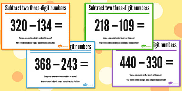 Subtracting Two Three Digit Numbers - numbers, three digit, subtracting