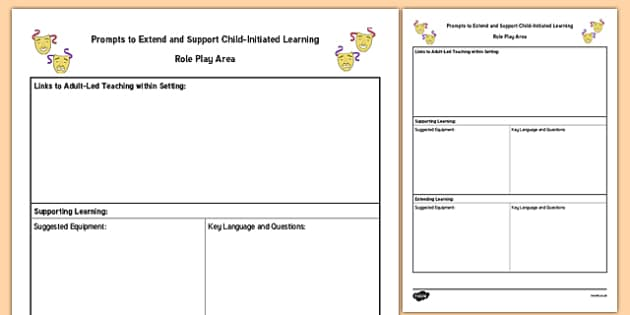 Role Play Area Adult Support Prompt Sheet Template - foundation, early years, plan, planning, recording, continuous provision