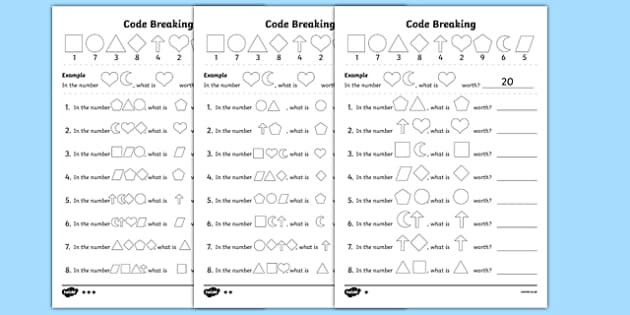 Place Value Code Breaking Activity Sheet Pack, worksheet