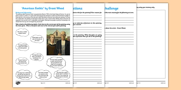 American Gothic by Wood Art Appreciation Activity Sheet - American Gothic, wood, art, activity, sheet, worksheet