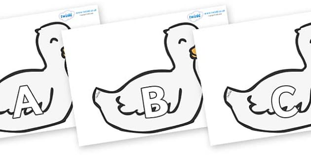 A-Z Alphabet on Mother Duck - A-Z, A4, display, Alphabet frieze, Display letters, Letter posters, A-Z letters, Alphabet flashcards