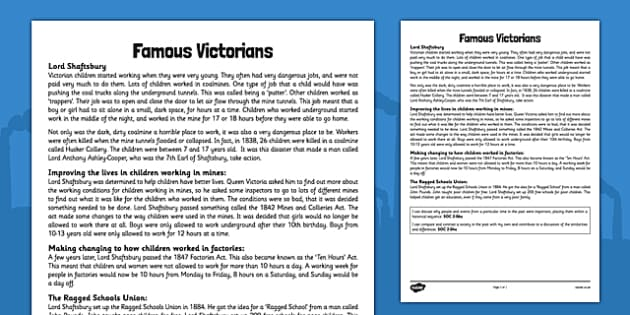 Famous Victorians Lord Shaftsbury CfE Second Level - CfE, Social Studies, Famous Victorians, Significant Individuals, Lord Shaftsbury, Anthony Ashley-Cooper, Coalmines, Ragged Schools, Ten Hours Act, Children's Rights