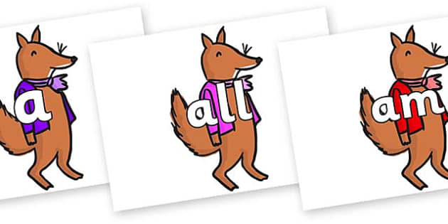 Foundation Stage 2 Keywords on Small Fox 2 to Support Teaching on Fantastic Mr Fox - FS2, CLL, keywords, Communication language and literacy,  Display, Key words, high frequency words, foundation stage literacy, DfES Letters and Sounds, Letters and S