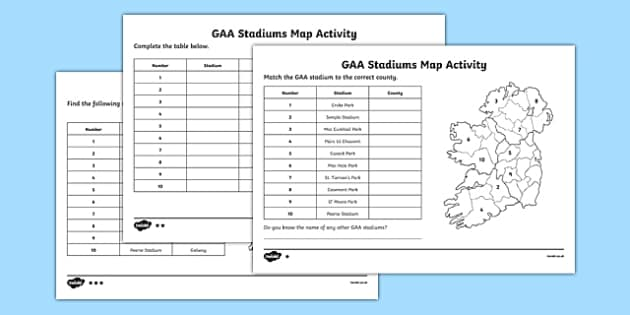 GAA Stadiums Map Activities - gaa, ireland, poetry, poems, acrostic, theme, sports, display, creative