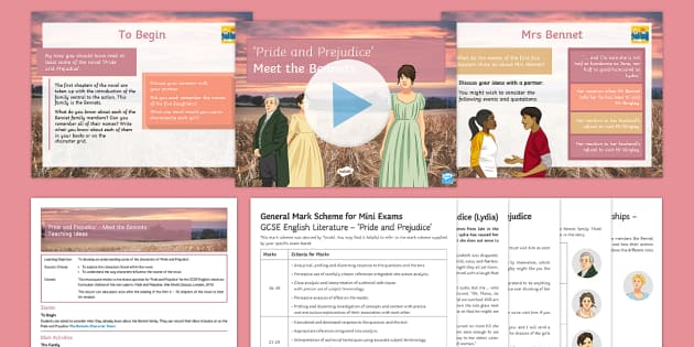 Pride and Prejudice the Bennets Lesson Pack - Pride and Prejudice, GCSE English Literature, AQA, Literary Heritage Fiction, Jane Austen, Lydia Ben