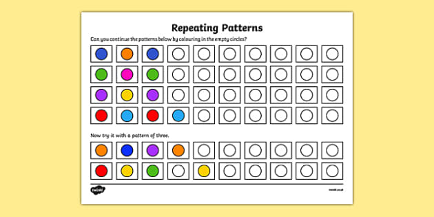 Pattern Activity Sheet Copy, Recognise and Repeat Patterns up to 3 - welsh, cymraeg, pattern, activity, copy, recognise, repeat, worksheet