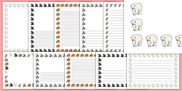 Bears Page Borders - Bear, bears, page border, a4 border, template, animals, polar bear, koala bear, brown bear, grizzly bear, sloth bear,  bear resources
