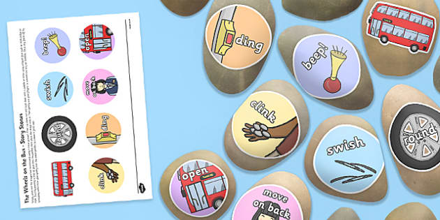 The Wheels on the Bus Story Stones Image Cut-Outs - nursery, rhyme, song, early, years, KS1 key, stage, 1, one, craft, design