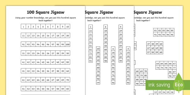 100 Square Jigsaw Activity Sheets - 100 Days of School, hundred