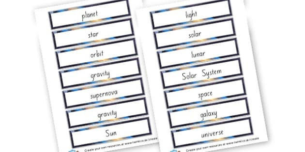 Basic Space theme words - Space Literacy Primary Resources, Space, planets, Sun, moon, star