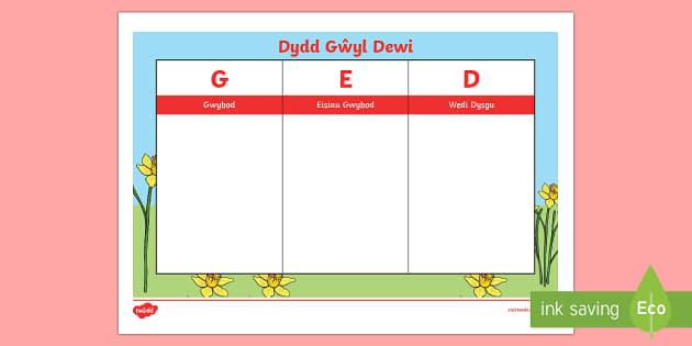 Grid GED Dydd Gŵyl Dewi - Dewi Sant, Dydd Gwyl Dewi, Grid, GED,Welsh