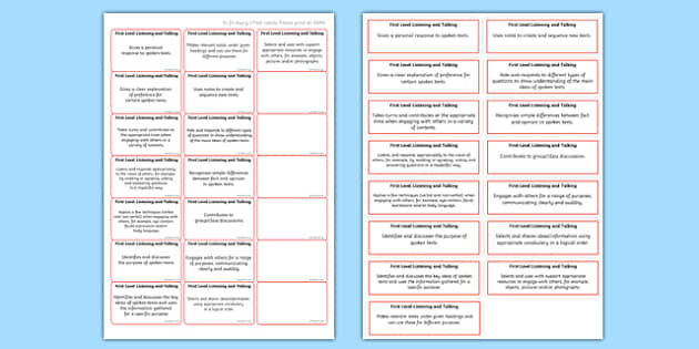CfE First Level Listening and Talking Benchmark Assessment Stickers-Scottish