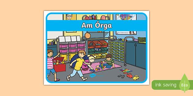 Am Órga - Irish Gaeilge Golden Time Display Poster-Irish