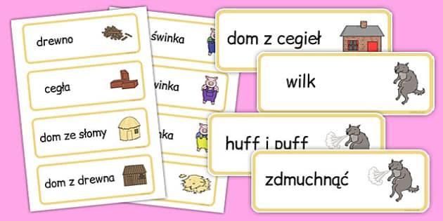 Karty ze słownictwem Trzy małe świnki po polsku - baśnie, bajki
