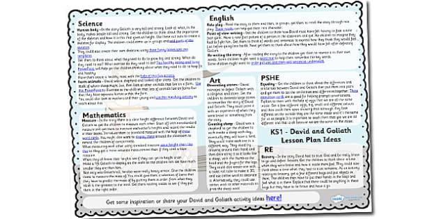 David and Goliath Lesson Plan Ideas KS1 - david, goliath, KS1