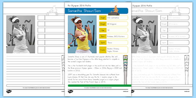 Australian Rio Olympian Samantha Stosur Handwriting Practice Activity Sheets-Australia, worksheet