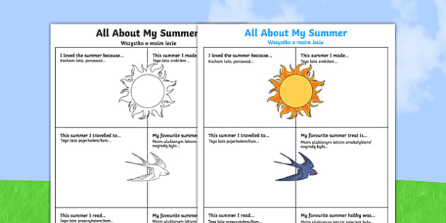 All About My Summer Activity Sheet Polish Translation-Polish-translation, worksheet