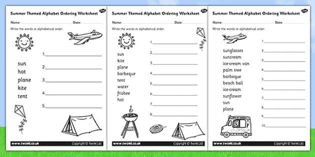 Summer Differentiated Alphabet Ordering Worksheet - season, order