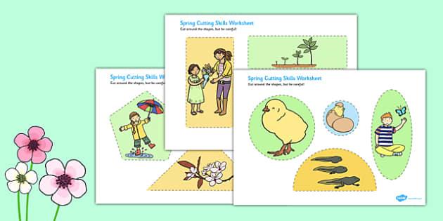 Spring Cutting Skills Worksheet - spring, cutting, skills, sheet