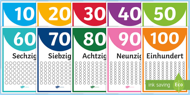 Numbers Ten to One Hundred Display Posters - Numbers, Counting, German, maths, numeracy, ks1, ks2, mfl, modern foreign language, ten, hundred, po