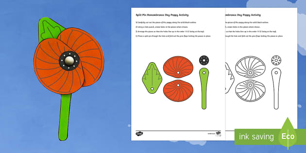 Simple Split Pin Remembrance Day Poppy Paper Craft